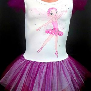 Triko haljina za balet sa svetlucavim tilom i LOL lutkama stampanim
