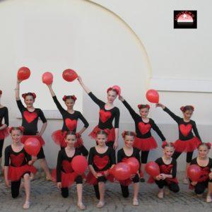 suknjica za balet od tila na gumu crvena