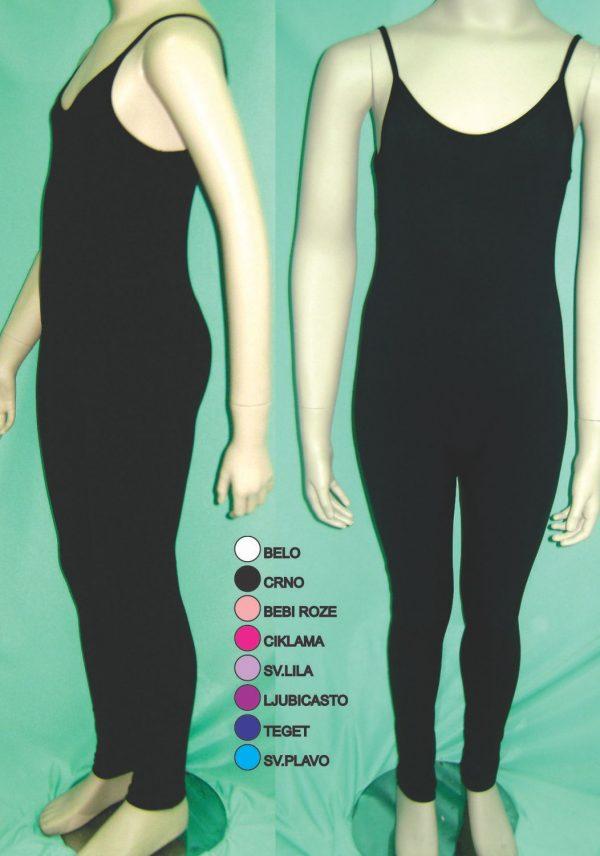 Crni jednodelni triko zenski akademik tanka baletska bretela