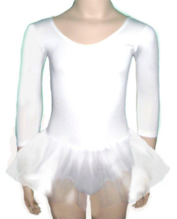Triko za balet za devojcice sa til suknjicom BELE BOJE