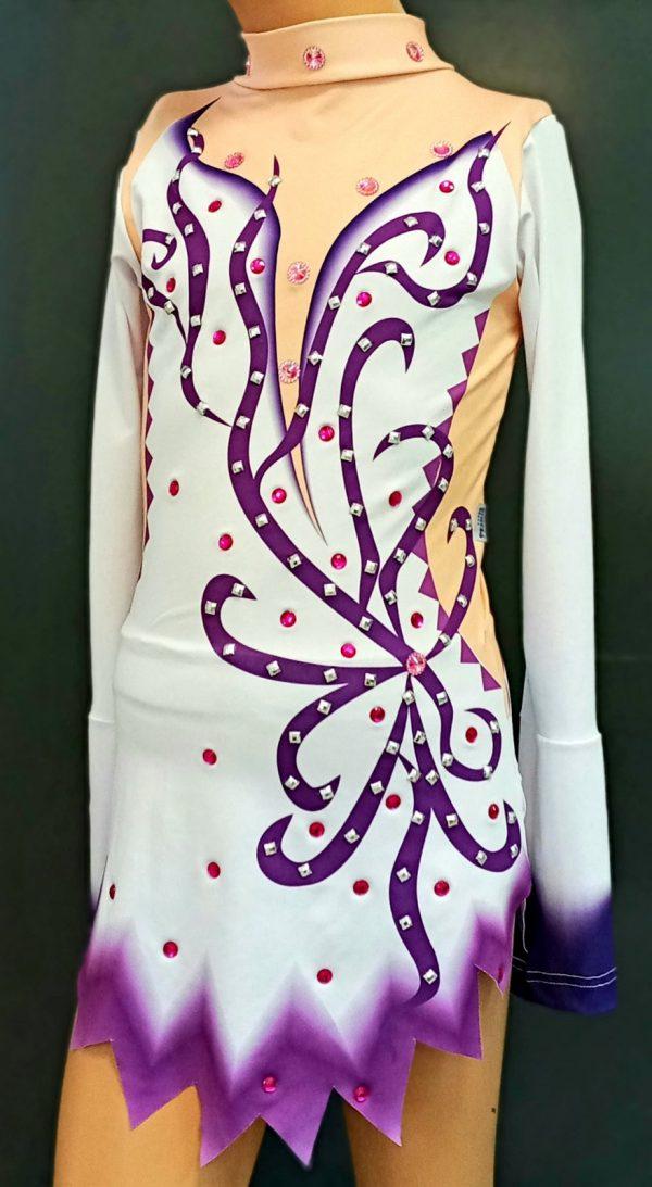 Triko haljina za klizanje bela sa ljubicastim