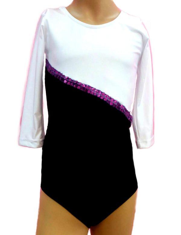 Triko za gimnastiku i ples dvobojni CRNI
